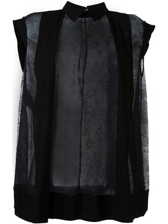 blouse loose sheer fit black top
