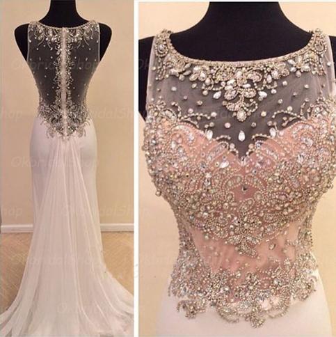 white prom dress, long prom dress, 2015 prom dress, elegant prom dress, custom prom dress, BD14323 on Storenvy