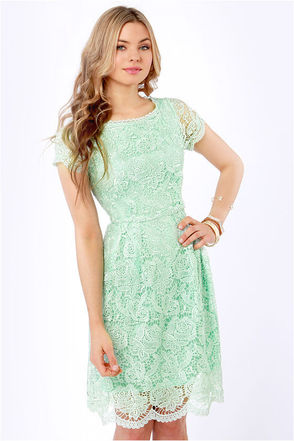 Pretty Mint Dress - Lace Dress - Backless Dress - $70.00