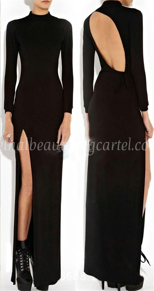 Thigh high split backless maxi dress