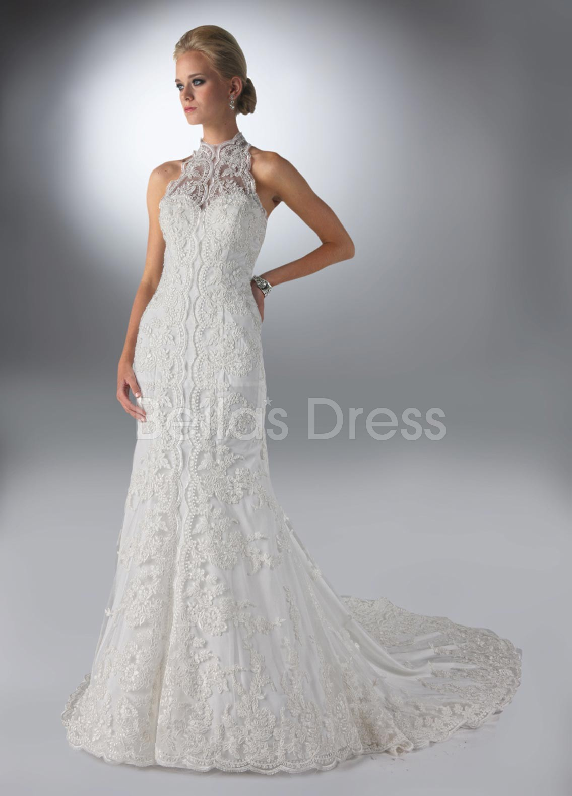 Vintage sheath column high neck chapel train lace tulle for Wedding dress with high collar