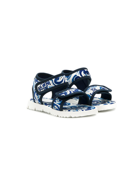Dolce & Gabbana Kids sandals printed sandals leather blue shoes