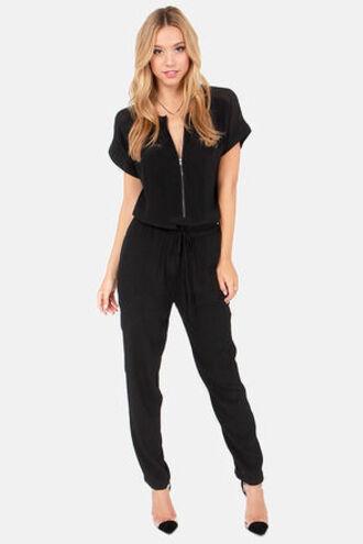 jumpsuit black jumpsuit zipper short sleeves