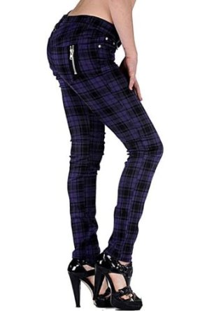 Women's Purple Tartan Print Rockabilly Retro Indie Skinny Jeans Trousers Goth Punk Emo: Amazon.co.uk: Clothing