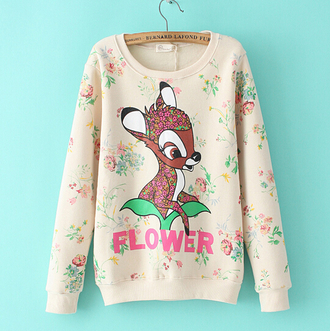 bambi pullover sweatshirt asian fashion floral floral pullover fall outfits winter outfits kfashion korean fashion japanese fashion tokyo fashion cfashion chinese fashion flowers