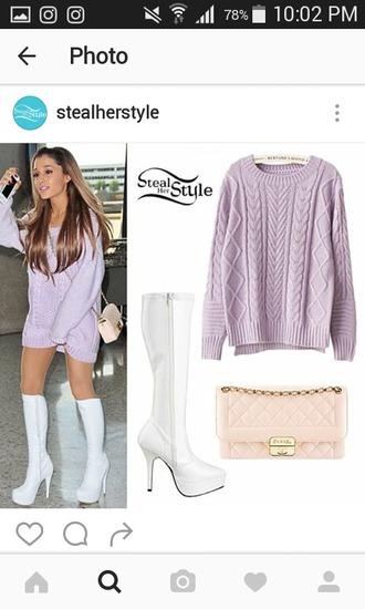 sweater celebrity purple winter sweater comfy