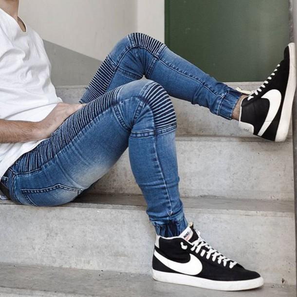 jeans, biker pant, denim, deepblue, white, menswear ...