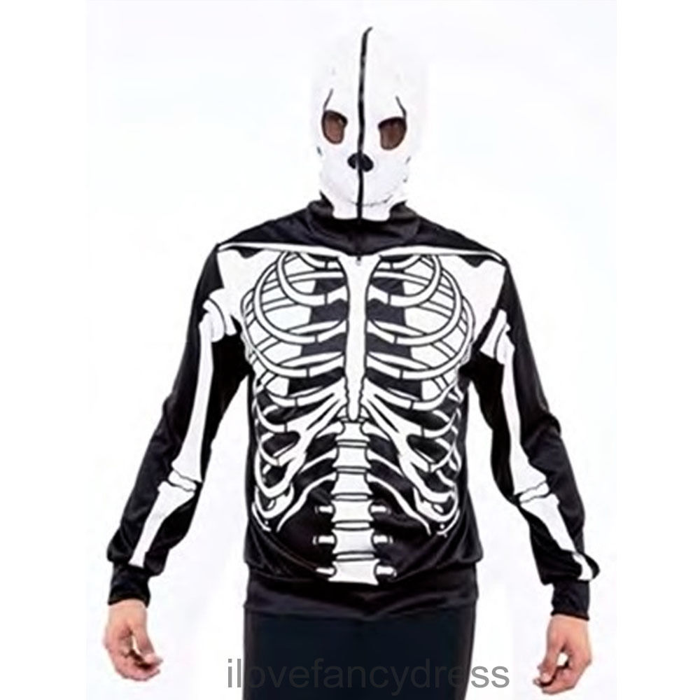ZIP UP HOOD JUMPER HALLOWEEN SKULL PRINTED TOP FANCY DRESS COSTUME