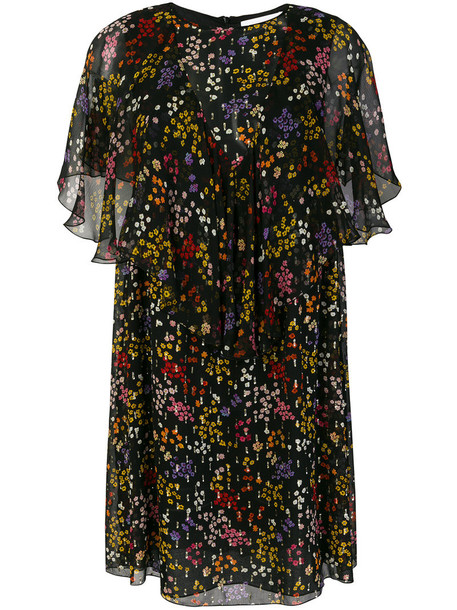 See by Chloe dress floral dress sheer metallic women floral black silk