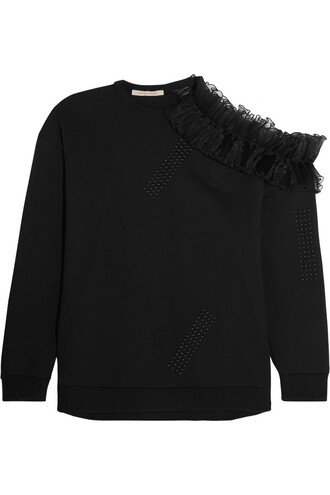 sweatshirt ruffle cotton black sweater