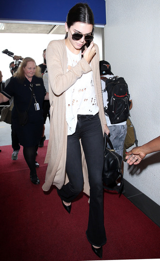 cardigan top jeans pumps kendall jenner fall outfits