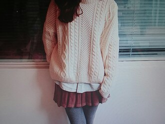 sweater dress skirt shirt white creme colored dark red layered girly grey winter outfits fall outfits pretty