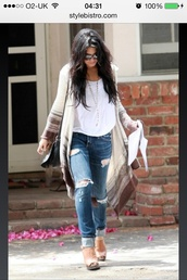 sweater,vanessa hudgens,oversized cardigan,jeans,blouse