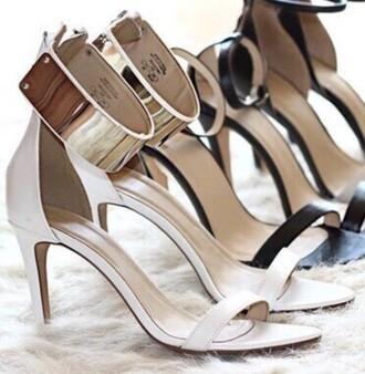 shoes cream high heels gold metallic