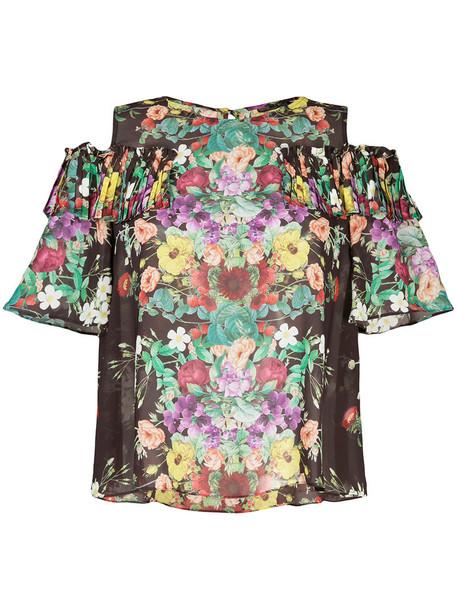 Aula blouse women floral print brown top