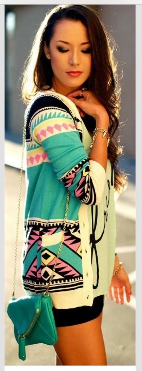 jacket aztec cardigan colorful