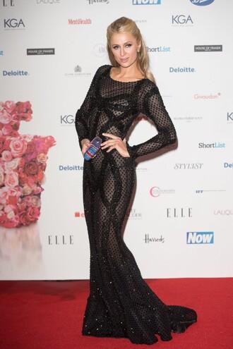dress gown black dress prom dress sheer paris hilton sparkly