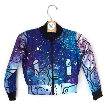 Galaxy bear varsity silk jacket