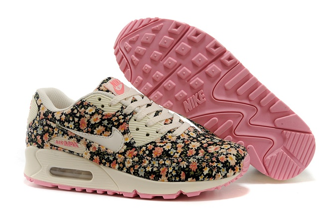 Nike Air Max 90 Womens Running Shoes Flower Baby Pink White