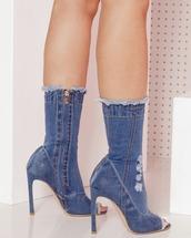 shoes,booties,denim,denim shoes,denim booties,medium wash,medium wash denim,medium wash denim booties
