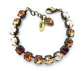 jewels,siggy jewelry,swarovski,bracelets,tennis bracelet,jewelry,bling,amber,topaz,brown,tan,beige,style,holiday gift,gift ideas,golden brown,sparkle,etsy