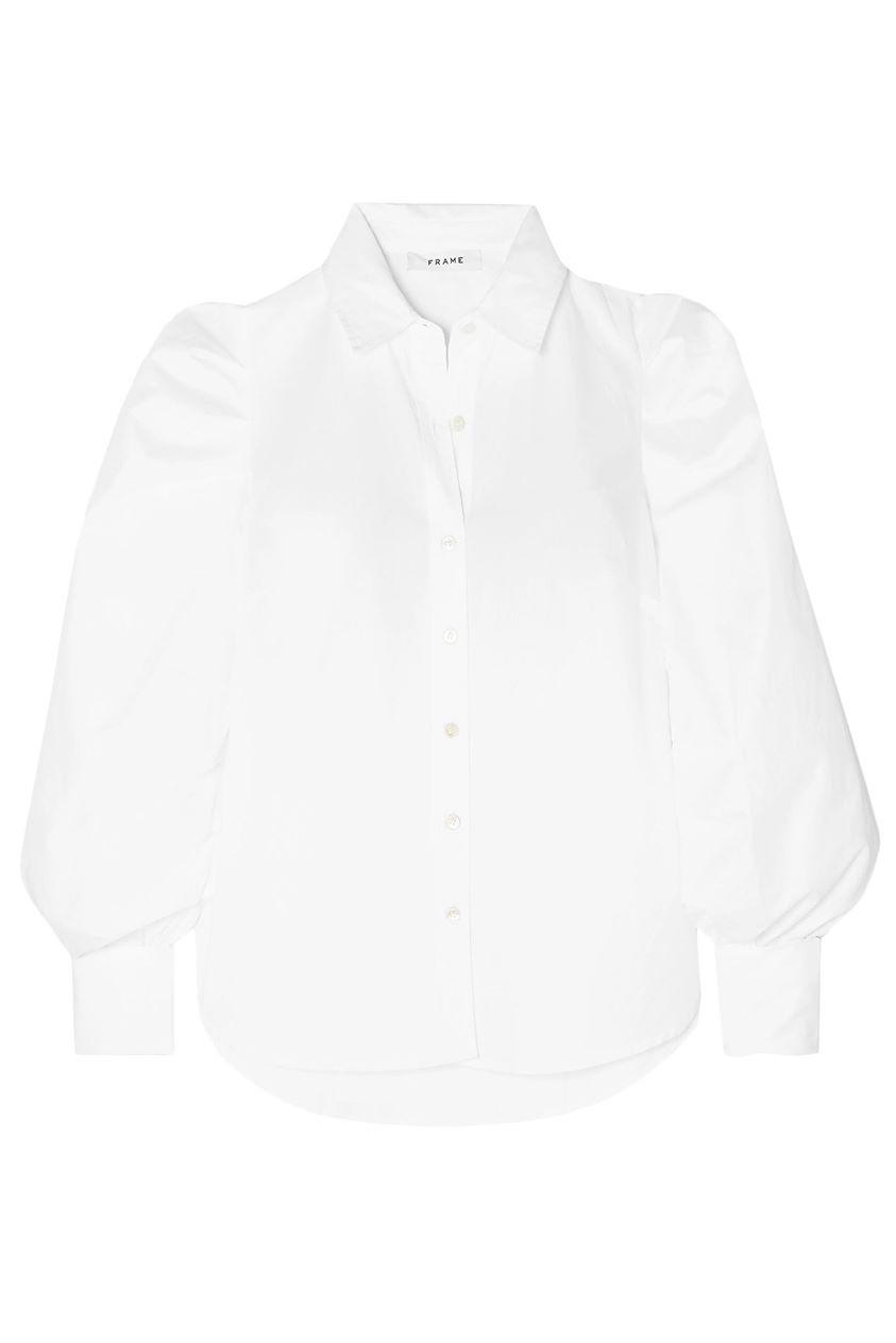 Frame Woman Ruched Cotton-poplin Shirt White Size L
