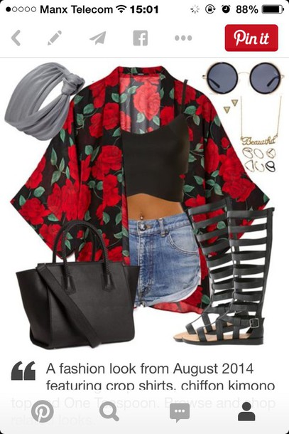bag cardigan tank top shorts blouse red and black kimono