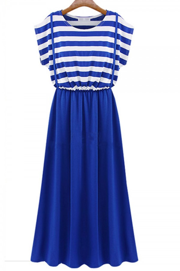 Kcloth striped printed two tone with cross straps maxi dress