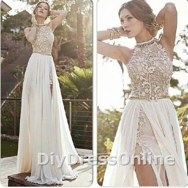 Line high neck lace bodice ivory chiffon prom dresses beach wedding dresses apd1449 · diydressonline · online store powered by storenvy