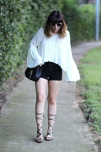 the stylish soul blogger flare white top black shorts gladiators