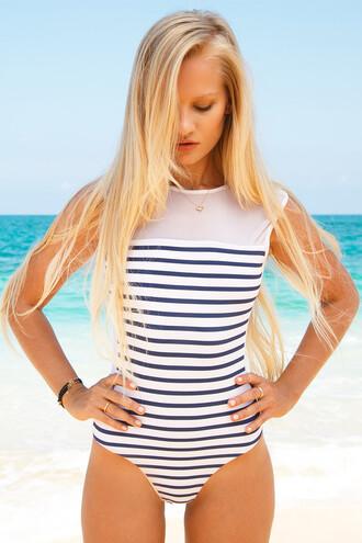 swimwear stripes mesh swimwear one piece swimsuit blue mesh low back sexy nautical beach one piece