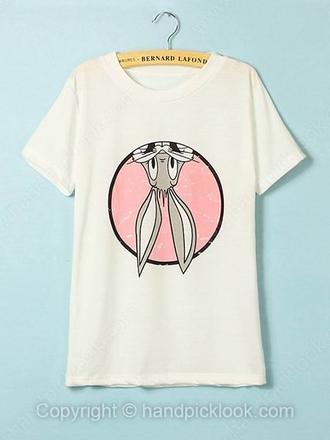 top clothes t-shirt bunny shirt