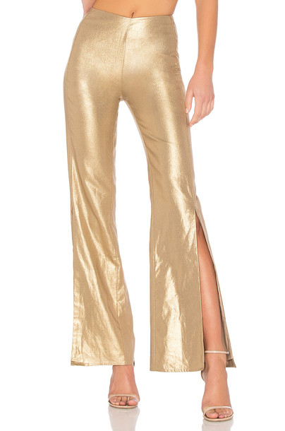 Lovers + Friends pants metallic gold