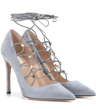 pumps lace suede grey shoes