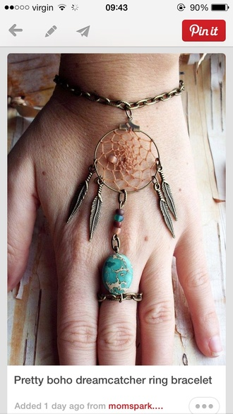jewels hand jewelry dreamcatcher boho bohemian gold jewelry quirky quirky jewellery aztec indian ring