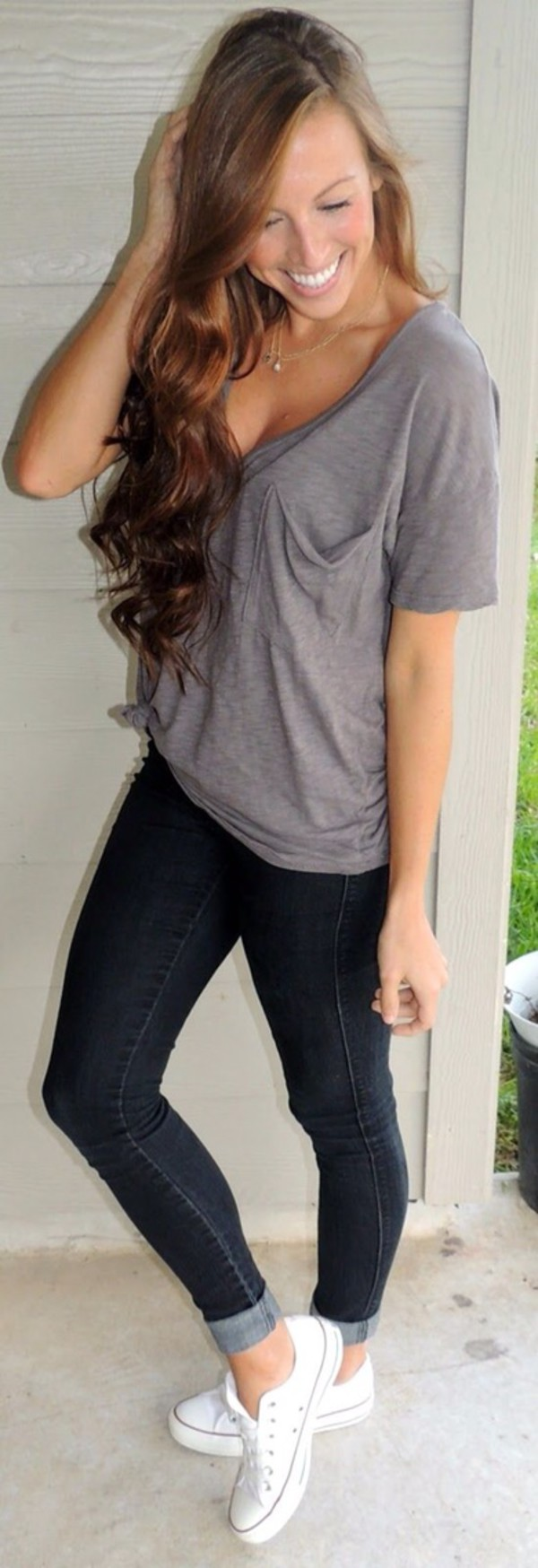 blouse top pants jeans t-shirt shoes shirt grey t-shirt style bag