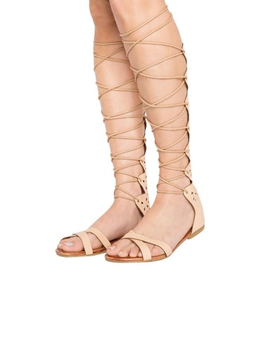 Pixie Market Tan Knee High Gladiator Sandals - Nude Lace Up Greek Sand... | Keep.com