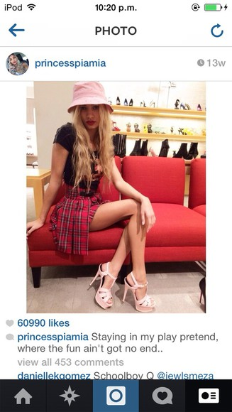 skirt tartan skirt top shoes high heels pleated skirt pleated pia mia perez