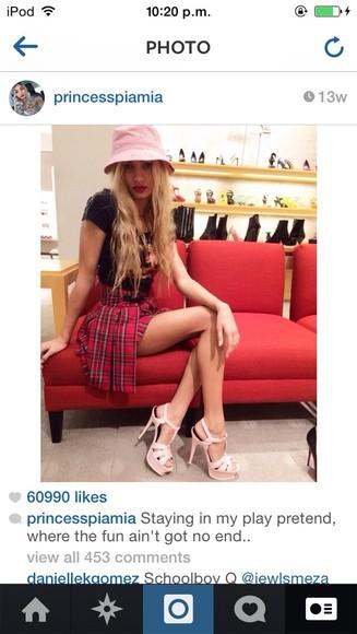 skirt top tartan skirt pleated skirt pleated piamia high heels shoes