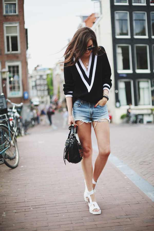 style scrapbook sweater shorts shoes sunglasses bag jewels black preppy casual chic v neck stripes white cute