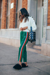 shoes,green pants,tumblr,black shoes,furry shoes,pants,side stripe pants,sweater,white sweater,knit,knitwear,knitted sweater