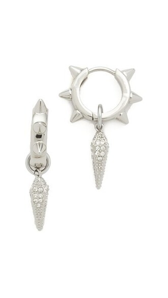studded clear earrings silver jewels