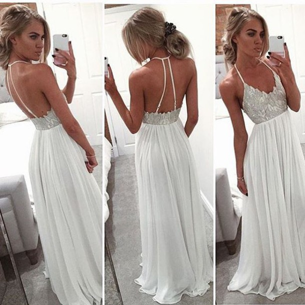 Simple Lace Backless Prom Dresses