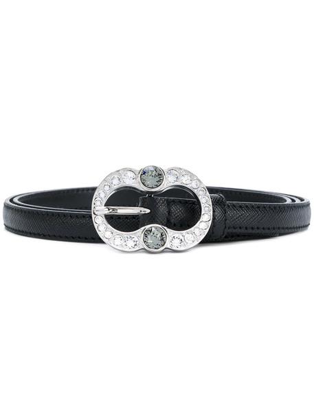 women embellished belt leather black