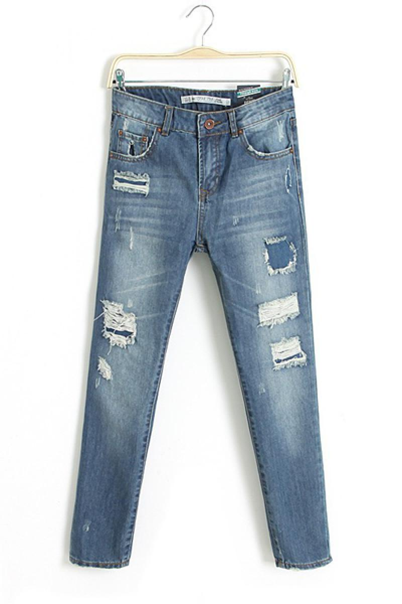 New Fashion Straight High Waist Skinny Washable Nine Cents Jeans,Cheap in Wendybox.com