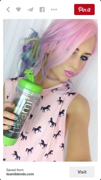 shirt grunge tank top top style fashion kawaii grunge soft grunge pink pastel pink unicorn summer top