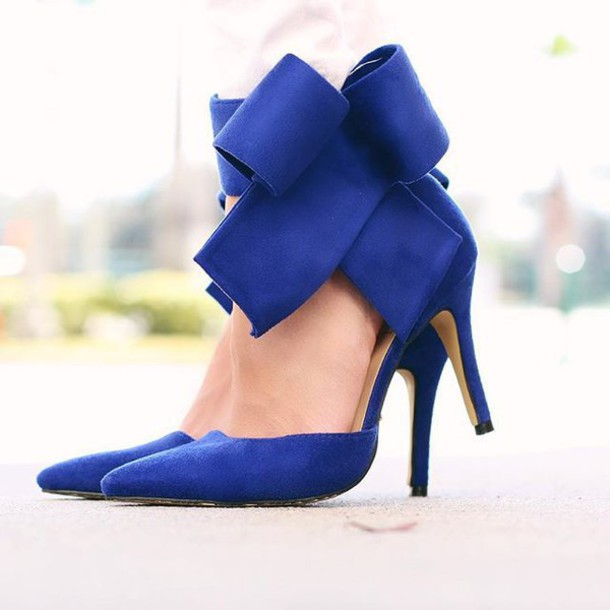Shoes: bow heels, royal blue, blue, light blue, bow shoes, high ...