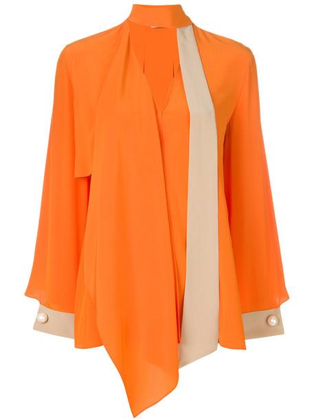 Fendi blouse long women plastic silk yellow orange top