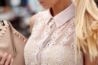 blouse sheer semi sheer see through cream white sleeveless shirt flowers floral stitching detail