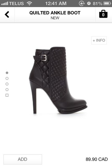 black zara shoes quilted ankle boots